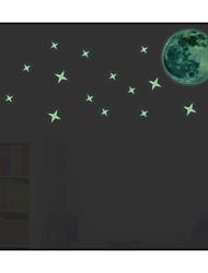 The Moon and Stars Glowing in the Darkness Luminous Wall Stickers Art Decals
