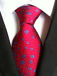 Men Wedding Cocktail Necktie At Work Red Blue Flower Tie