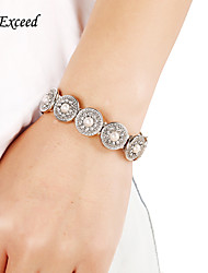 D Exceed New Silver Filled White Pearl Rhinestone Elastic Bangles for Women Jewelry High Quality Spring Bracelets
