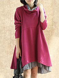 Women's Casual/Daily Vintage Dress,Patchwork Stand Above Knee Long Sleeve Red / Gray Spandex Fall