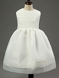 Christmas Girl's White Dress , Bow Cotton / Polyester Summer / Winter / Spring / Fall