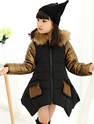 Girl's Solid Down & Cotton Padded,Polyester Winter Black / Red