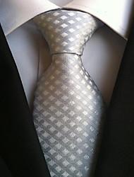 Men Wedding Cocktail Necktie At Work Beige Gray Tie