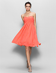 Knee-length Chiffon Bridesmaid Dress A-line Sweetheart with Criss Cross