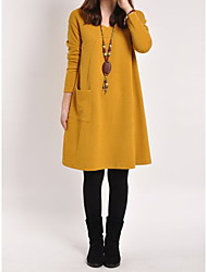 Collins Women's Solid Color Dresses , Casual / Party V-Neck Long Sleeve