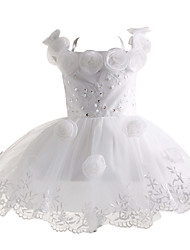 Girl White With Flower Classical Princess Flower Girl Dresses
