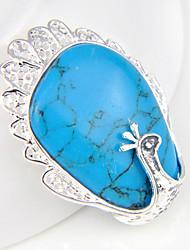 fashion forward einzigartige blaue Türkis-Edelstein 925 Silber Pfau-Anhänger für Halsketten für Hochzeitstages 1pc