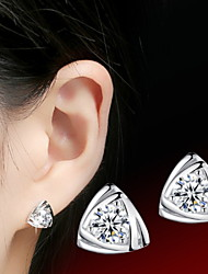 Серьги-гвоздики В форме сердца,Бижутерия 2 шт. Birthstones Стерлинговое серебро Повседневные