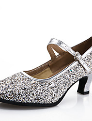 Customizable Women's Dance Shoes Modern Synthetic Customized Heel Black / Blue / Pink / Silver / Gold