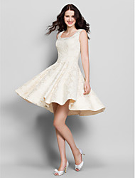 Knee-length Lace Bridesmaid Dress A-line Square with Lace