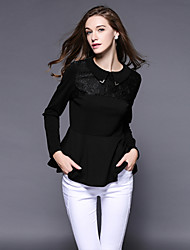 Women's Solid / Patchwork / Lace Black T-shirt , Peter Pan Collar Long Sleeve / Plus Size / Women's Pattern Color Tops
