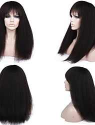 8A 8''-26'' Kinky Straight Brazilian Virgin Glueless Full Lace Human Hair Wigs Lace Front Wigs With Full Baby Hair
