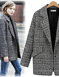 Women's Striped Multi-color Coats & Jackets , Casual Shirt Collar Long Sleeve