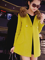 Women's Solid Red / Yellow Coat , Casual Long Sleeve Others