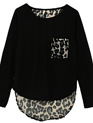 Women Girl Blouse Chiffon Leopard Print Patchwork Irregular Hem O Neck Long Sleeve Casual Tops Tee Streetwear