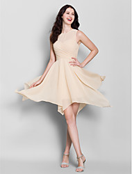 Asymmetrical Chiffon Bridesmaid Dress A-line Jewel