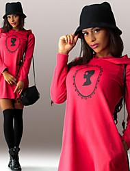 Dominic Women's Print Blue / Red / White / Black Dresses , Casual / Work Hoodie Long Sleeve