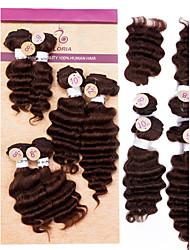 """evet brésilien profonde vague 6pcs 4x8 """"1x10"""" cheveux vierges brizilian 1x12 regroupe offres vierge extension de cheveux # 1b # 2 # 4"""
