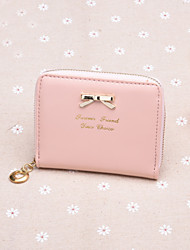 Stylish sweet style butterfly knot metal buckle zip short horizontal  lady Purse Key Pocket Wallet