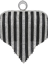 Women Polyester / Metal Minaudiere Clutch / Evening Bag - Silver / Black