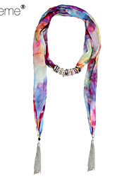 Lureme® Vintage Bohemian Style Metal Tassels with 15 Small Circles Pendants Printing Scarf Alloy Necklace