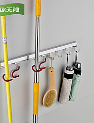 WeiYuWuXian® Space Aluminum Wall Mounted Robe Hooks for Mop Brush Bathroom Accessories