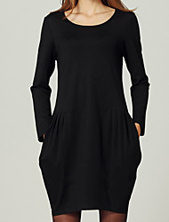 Women's Casual/Daily Plus Size / Vintage Plus Size Dress,Solid / Striped Round Neck Above Knee ¾ Sleeve Black Cotton All Seasons