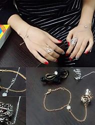 HUALUO®Korean Fashion Diamond Leaf Shape Piece Bracelet Ring