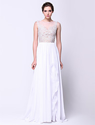 ts couture® formale Abend a-line scoop Sweep / Pinsel Zug Chiffon / Spitze / Tüll mit Appliques Kleid