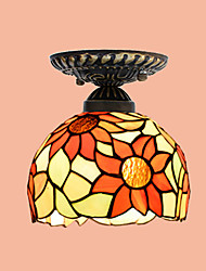 E27 220V 17*20CM 3-5㎡European Rural Creative Arts Stained Glass  Absorb Dome Lamp Led Light
