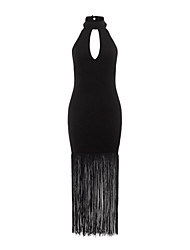 Women's High Halterneck Fringe Hem Maxi Dress