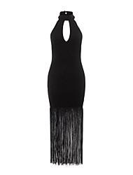 Damen Kleid - Bodycon Sexy Solide Maxi Polyester / Elasthan Rollkragen