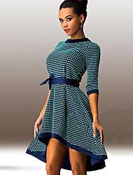 Women's Elegant Plaid Asymmetrical Ball Gown Party Dress