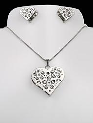 acero de titanio de la moda europea y americana del corazón del melocotón de plata del collar pendientes de la CZ de ciruela