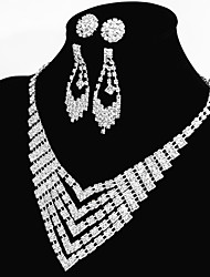 Women's Wedding/Party Jewelry Sets Classic Wedding Dress Accessories 2 Pairs of Rhinestone Earrings 1 Crystal Necklace