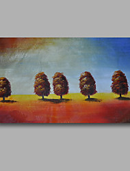 Ready to Hand Stretched Oil Painting Hand-Painted Canvas Wall Art Modern Trees Brown Blue one Panel