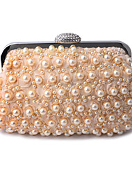 L.west Women Pearl Lace Flowers Diamonds Evening Bag