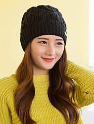 Women Cute Wool Acrylic Beanie Skullies Hats Metal Decoration  LD00072
