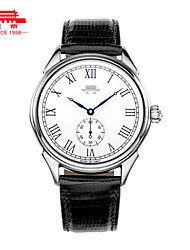 Men's Business Casual Hand Mechanical Watch Leather Trainspotter Wrist Watch