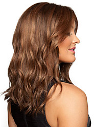 Fashion Girl in Long Hair Wavy Brown Synthetic Wig