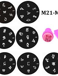 20pcs Nail Stamping Plates and Stamper Scraper Set,Nail Art Polish Stamp Stencils Manicure Nail Tools M21-M40