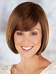 Sleek Youthful Remy Human Hair Hand Tied-Top Capless Short Straight Woman's Wig