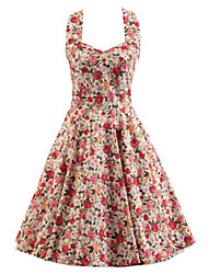 Women's Pink Floral Dress , Vintage Halter 50s Rockabilly Swing Dress