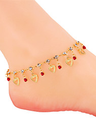 TopGold New Heart Anklet Foot Jewelry SWA Rhinestone For Women 18K Real Gold Plated Anklets Foot Bracelet On One Leg