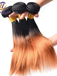 3pcs / lot del color 12-26inch brasileño pelo lacio pelo virginal ombre 1b / 27 del pelo humano sin procesar teje venta caliente.