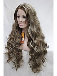 Lace Front High Quality Heat Friendly Synthetic Hair Light Brown with blonde highlights Wavy  Long Full Wig