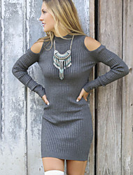 Women's Europe Casaul Round Collar Cut Shoulder Slim Mini Knit Dress