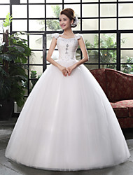 Ball Gown Wedding Dress - White Floor-length Straps Lace / Organza