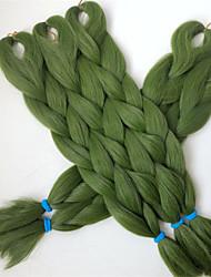 "24"" 80G OLIVE GREEN Color Kanekalon Senegalese Twists Xpression Synthetic Jumbo Box Braiding Hair"