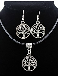 Lift Tree Pendant Silver Necklace & Earrings Jewelry Set